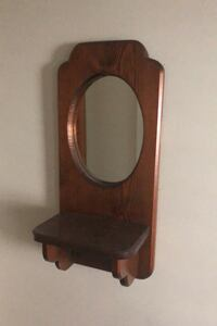 Wood Wall Hanging Mirror With Shelf