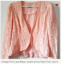 Vintage Pink Lace Jacket with Pearl trim  Vancouver, V6E