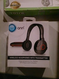 onn black and red cordless headphones