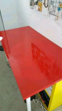Linnmon red table and oddvald trestle with shelf Toronto, M6J
