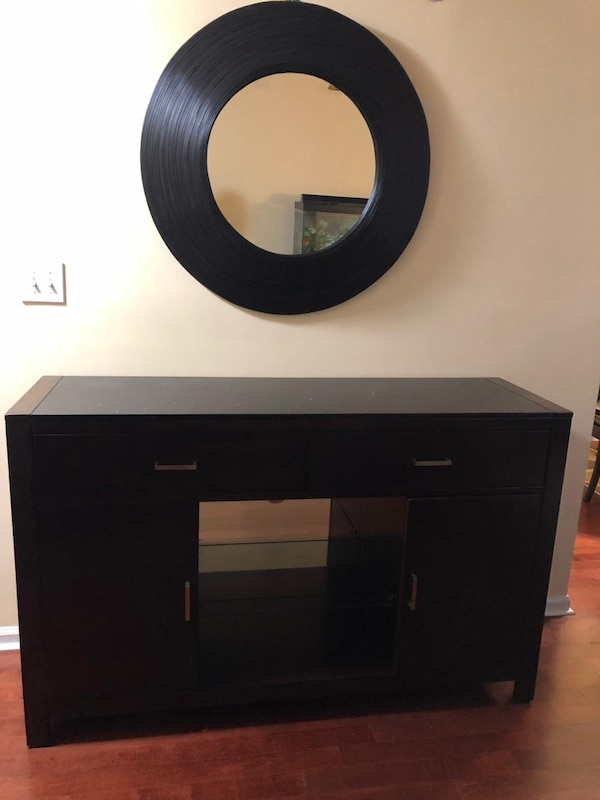 Mirror with table with drawers