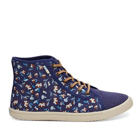 TOMS women's blue floral high tops, size 8