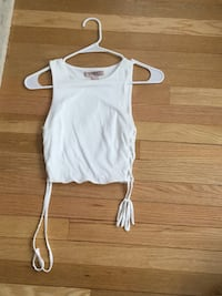 White crop top with laced sides. Size small
