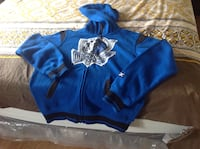 Blue and black hoodie with cap 551 km