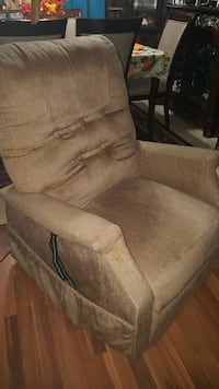brown fabric recliner with remote
