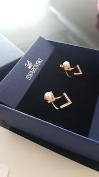 Swarovski rose gold and pearl earrings