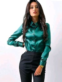 women's green long-sleeved blouse, silky Fairfax, 22030