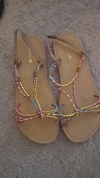 brown-yellow-pink peep-toe sling-back flat sandals Belleville, K8P