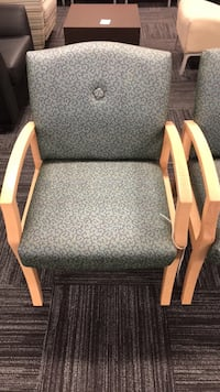 brown wooden frame gray padded armchair Columbia, 21046