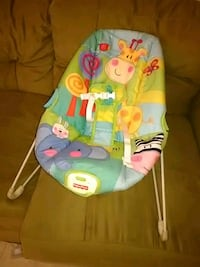 baby's blue and green Fisher-Price bouncer Laredo