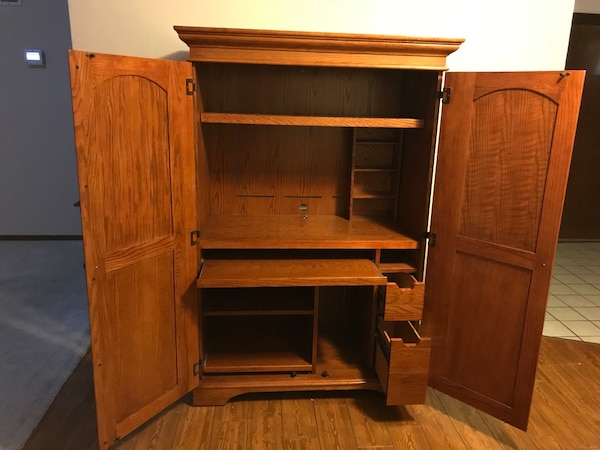 Used Armoire Computer Desk Solid Oak For Sale In Midwest City Letgo