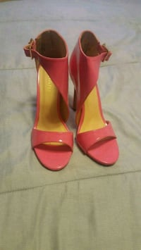 pair of red leather peep-toe heeled sandals Eastpointe, 48021