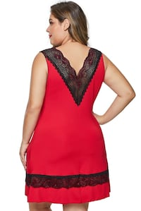 Red Plus Size Babydoll with Lace Detail Calgary, T3K 0T1