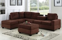 CLEARANCE] Heights Chocolate Reversible Sectional with Storage Ottoman Houston, 77036