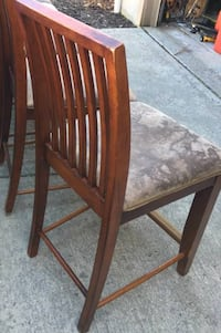 Tall chairs / wood and fabric / total of two together Columbus