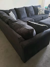 Simmons Dawson Denim blue sectional, recliner and ottoman