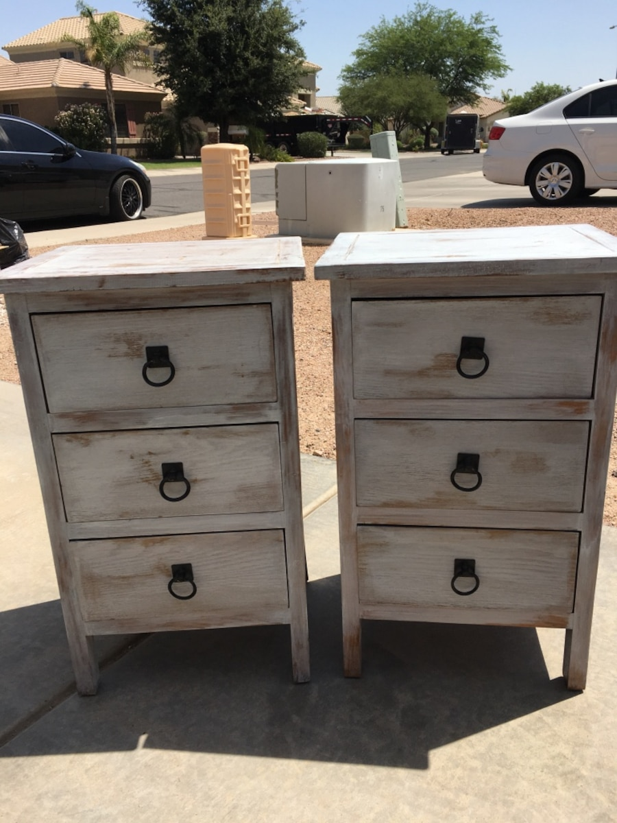 Letgo Two Distressed White Nightstands In Chandler Az