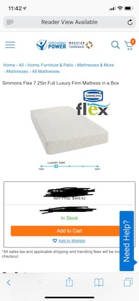 Brand new full size Simmions gel foam mattress  Baltimore, 21214