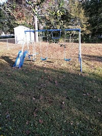 toddler's outdoor swing with slide
