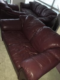 3 Piece Burgundy Leather Couch Set Burnaby