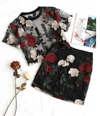 Zaful Embroidered Floral Two Piece Top and Skirt Toronto, M4J 4N3