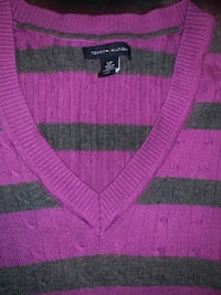 Purple & gray Tommy Hilfiger long sleeve v-neck shirt Alexandria, 22307