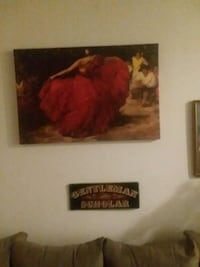 dancing woman wearing red gown painting West Palm Beach, 33401