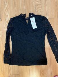Black Long sleeve top size s/m new
