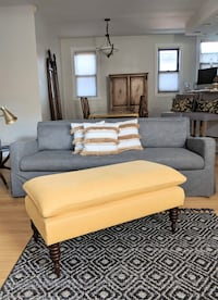 French yellow linen bench