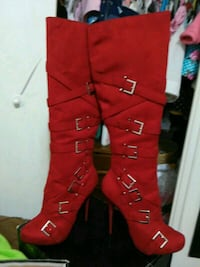 red leather knee-high boots Toronto, M3M 2H2