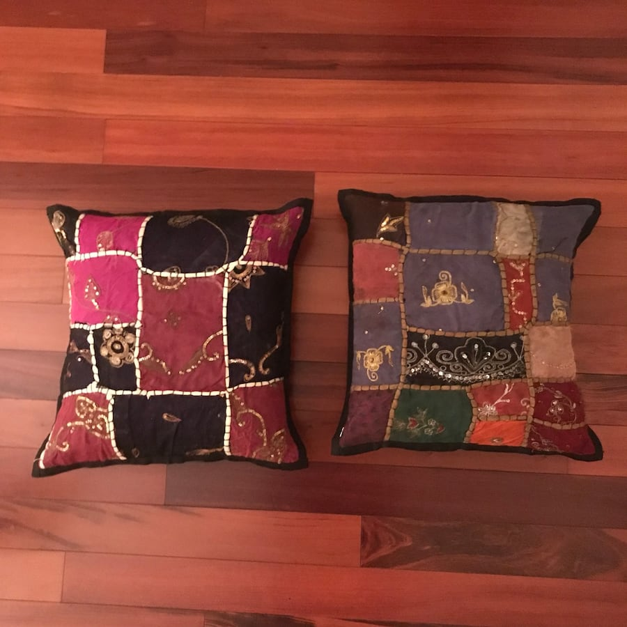 Two Handmade Indian Pillows