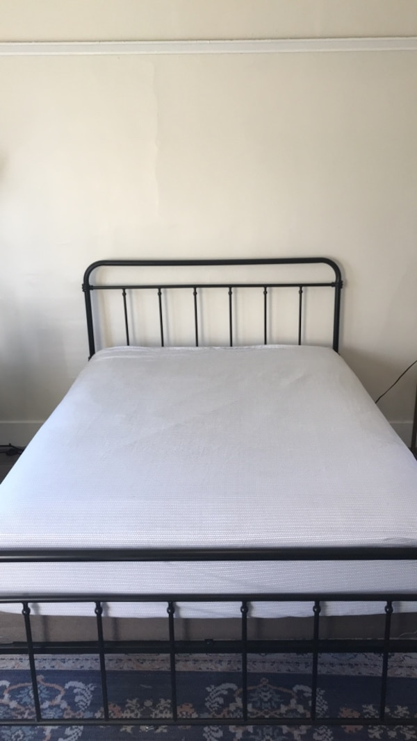 Used Black Metal Pipe Bed Frame Excludes Mattress And Foundation
