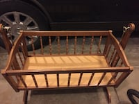 Vintage antique wood baby cradle