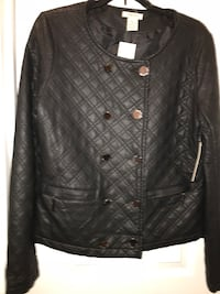 black leather button-up jacket Broadlands, 20148