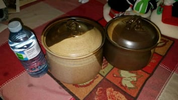2 Vintage Stoneware/Clay Pots with Lids