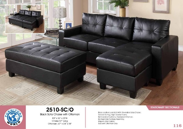 tufted black leather sectional sofa available we finance we deliver