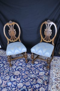 Antique Circa 1800 Adam style Carved Turned Leg Wood Chairs