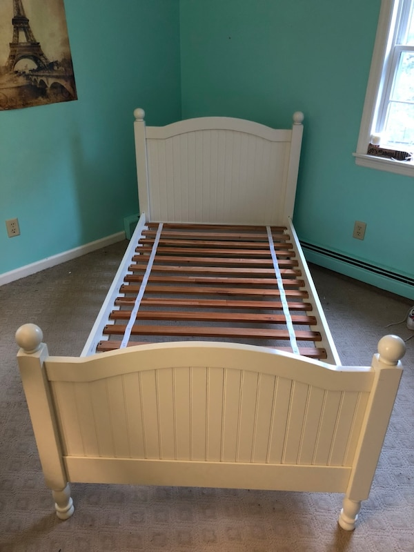 Used Pottery Barn Kids Twin White And Brown Wooden Bed Frame For