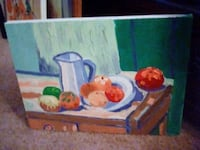 """""""FRUIT AND A PITCHER ON A TABLE"""". OIL ON CANVAS HYATTSVILLE"""