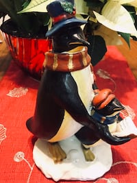 Christmas Ornament caroling penguin figures 8 inches tall