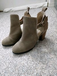 pair of brown suede booties Vancouver, V5V 3H2