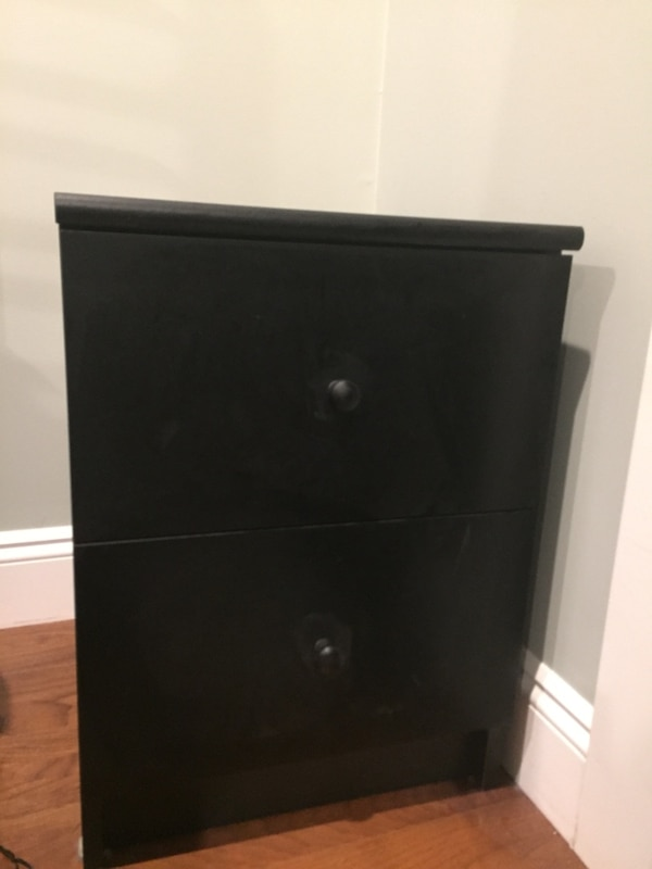 black wooden 2-drawer nightstand