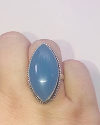Natural powder blue Chalcedony diamond shaped stone & .925 Stamped Sterling Silver ring size 8 NEW!  Carrollton, 75007