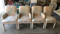 4 pastel print chairs, 3 with armrests, 1 without armrests Chardon, 44024