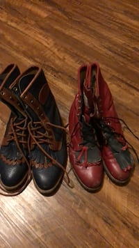 Two pairs of black and red leather round toe blucher boots Del City, 73115