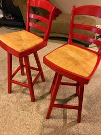 two brown wooden frame padded chairs Bowie, 20716