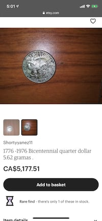 Quarter dollar coin 1776-1976 usa Toronto, M6C 3A2
