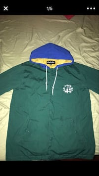 green, beige, and blue Only NY pullover hoodie \