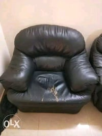 black leather sofa chair with ottoman Bengaluru