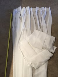 Curtains. White tab top pleated. 8ft long. Sheers. Four panels for $10. Frederick, 21701